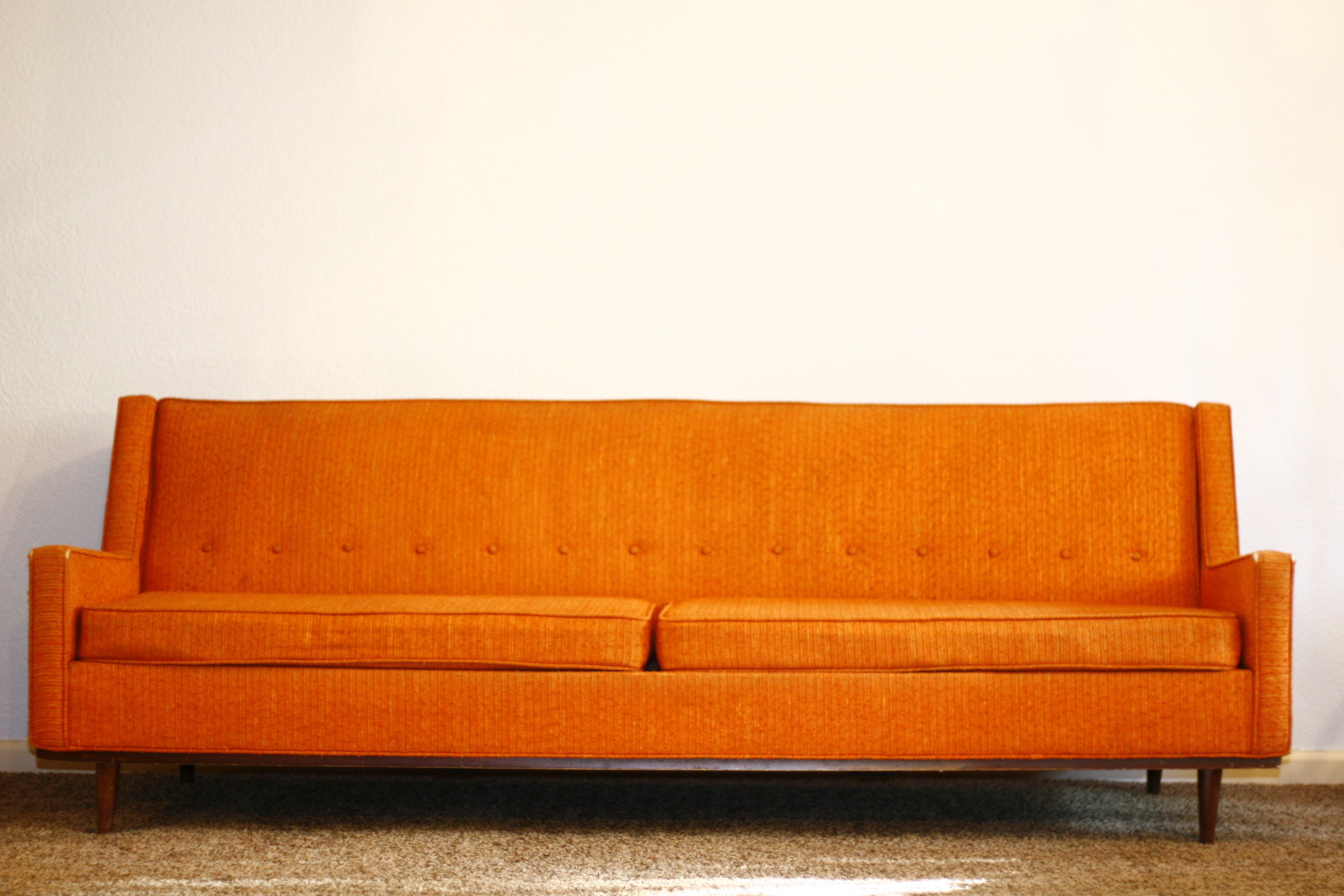 Vintage orange couch fort worth vintage for Mid century modern sofas